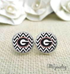 University of Georgia Earrings, Georgia Bulldog Earrings, UGA Jewelry, UGA Earrings by LMGjewelry on Etsy https://www.etsy.com/listing/207584829/university-of-georgia-earrings-georgia