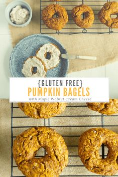 Sweet, Delicious Gluten Free Pumpkin Bagels: Too good not to share! Add a smear of homemade maple walnut cream cheese for the ultimate treat! #glutenfreebread #glutenfreebagels #bagelrecipes
