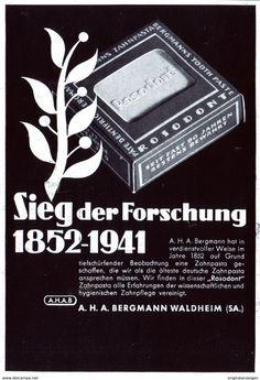 Original-Werbung/ Anzeige 1942 - ROSODONT ZAHNPASTA / BERGMANN - WALDHEIM - ca. 90 x 130 mm