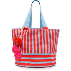 Sophie Anderson - Jonas Stripe and Pompom-embellished  Woven Tote ($475) ❤ liked on Polyvore featuring bags, handbags, tote bags, tote bag purse, striped totes, pom pom handbag, stripe tote bag and stripe handbag