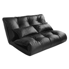 Lounge Chair – Merax Pu Leather Foldable Modern Leisure Sofa Bed Video Gaming Sofa Two Pillows, Black Sofa Bed Lounge, Sofa Bed Sleeper, Futon Chair, Sofa Couch, Sofa Set, Buy Sofa, Daybed, Floor Couch, Futons