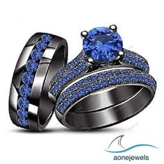 14k Black Gold Blue Sapphire His Or Her Trio Engagement Ring Wedding Set #aonejwels