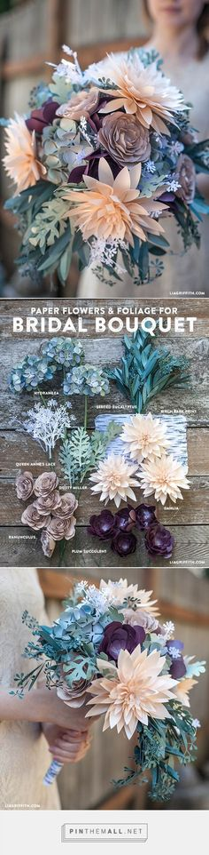 DIY Rustic Paper Bridal Bouquet - Lia Griffith www.liagriffith.com