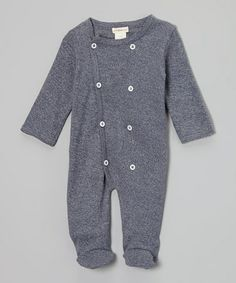 Take a look at this Dark Blue Heather Double-Breasted Organic Footie - Infant by Plum Bunny on #zulily today!