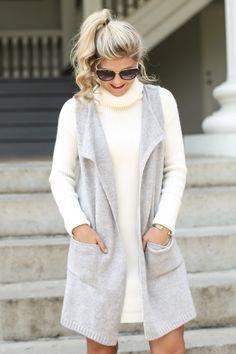 Weekend Mode Long Grey Vest at reddressboutique.com