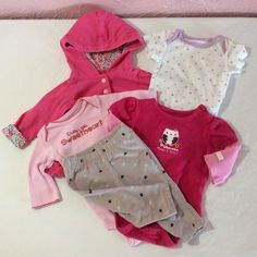 328ff0853 Oh Baby! Infant Girls Mixed Clothing Lot 5 Pcs Newborn 0-3 M 3 Month Hoodie  Legging