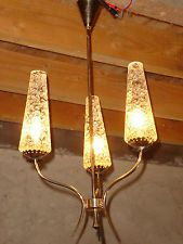1950s Atomic Rock and roll Designer 3 arm vintage ceiling lamp with glass shades