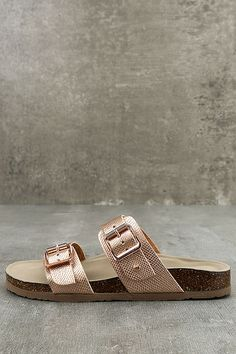 765e40c6d64 Make a stylish statement with the Madden Girl Brando-P Rose Gold Buckled  Slide Sandals