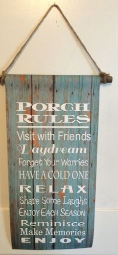 Porch Rules Canvas Banner - Christmas Gift, Mother's Day, Father's Day, Last Name Sign, Camping Sign, Rustic, Garden Flag by HeartlandSigns on Etsy