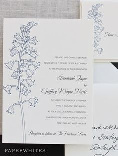 Our Bluebell wedding invitation is fresh-picked goodness. Wonderful for a spring-summer wedding that incorporates wildflowers.