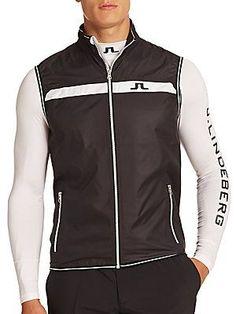 J. Lindeberg Golf Sporty Weather-Resistant Vest - Black - Size L