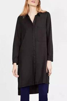 Stylish Long Sleeve Shirt Collar Black High-Low Hem Blouse For Women