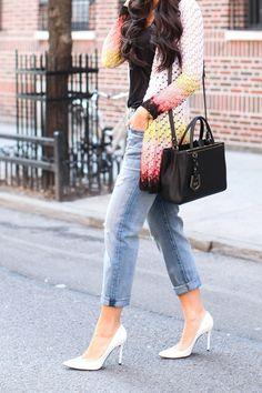 Missoni Cardigan - Missoni sweater // Current/Elliott jeans Alexander Wang tank // Jennifer Zeuner necklace // Stuart Weitzman heels // Fendi bag Monday, April 7, 2014