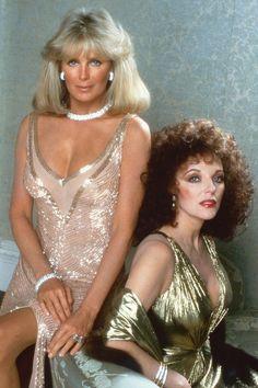Linda Evans & Joan Collins from ''Dynasty'' tv series Joan Collins, Dynasty Tv Series, Der Denver Clan, Emission Tv, Vintage Tv, Classic Tv, Ikon, Favorite Tv Shows, Movie Stars