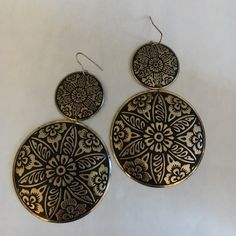 Black and gold earrings Double layer medallion style earrings Jewelry Earrings