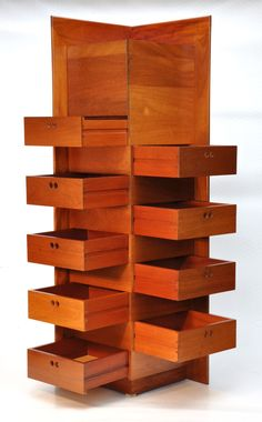 Retro ASH 9 Drawer CHEST CORNER CABINET danish eames era. A striking Australian-made cabinet from Victorian Ash