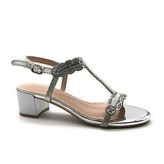 814596c1d38235 Angkorly - Chaussure Mode Sandale Escarpin salomés Petits Talons soirée  Femme Strass lanière métallique Talon Haut