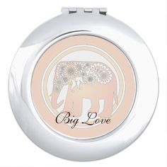Pastel Rose Pink Elephant Personalized Compact Mirror #originaldesign #original #makeup #love #gift #giftideas