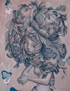 Artist: James Jean {contemporary fantasy surreal illustrator woman with multiple heads drawing #noveltechnique} jamesjeanart.tumblr.com