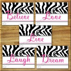 Pink ZEBRA Print Wall Art Girl Teen Room Decor by collagebycollins, Black Pink White  ZEBRA Print Wall Art Girls Room Decor Quotes  Inspirational Motivational   Teen Art Girls Room Nursery  believe love live laugh dream