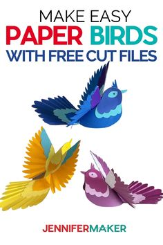 Make Easy DIY 3D Paper Birds with free patterns - cut by hand or use Free SVG Cut File for Cricut and Silhouette