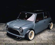 Mini Remastered: A bespoke, resto-modded classic - Mini Owners Club Mini Cooper Classic, Classic Mini, Classic Cars, Chevy Impala, Retro Cars, Vintage Cars, Mini Copper, Fear Of The Dark, Mini S