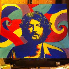 Ray LaMontagne painting inspired from cover of Ray's Gossip and the Grain Album cover painting by Rachel Fleitz