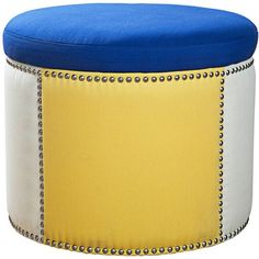 Sandy Wilson Royal Blue Fabric Storage Ottoman ($100) found on Polyvore featuring home, furniture, ottomans, seating, fabric ottomans, fabric storage ottoman, circular ottoman, upholstered ottomans and round storage ottoman
