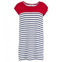 White and Blue Stripe Tee Dress