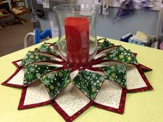 """Fold 'n stitch wreath...experiment with 12  8""""squares. Maybe the larger the squares the fewer squares needed.?"""