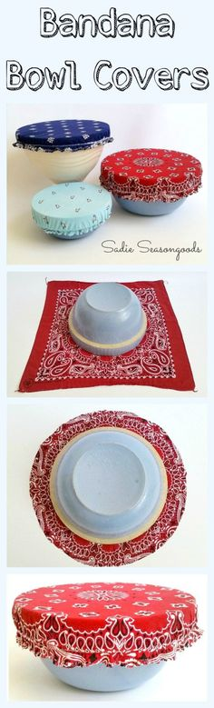 Just in time for July 4th and summer BBQs...DIY reusable, washable bowl covers from bandanas! Your lidless mixing bowl gets some patriotic panache with a vintage bandana bowl cover, which will keep the bugs out when sitting on the picnic table! Such a fun way to repurpose a bandana...easy to make and oh so pretty! Perfect upcycle project from #SadieSeasongoods / http://www.sadieseasongoods.com