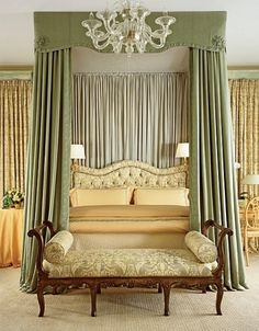 this is way too much for me, but i do love the bed, scones, and the curtain behind the bed.
