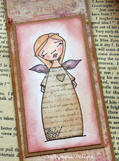 Angel BookmarkHand Coloured Vintage Style Shabby by craftypagan