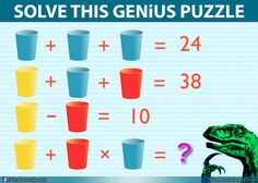 Solve this difficult brain teasers math puzzle image. Hard Math puzzle image only for geniuses with the answer. Try to solve this interesting brainteaser puzzle. In this Math Puzzle image you will have to find out the Logic Math, Math Problem Solving, Logic Puzzles, Math Class, Fun Math, Math Games, Whole Brain Teaching, Teaching Math, Reto Mental
