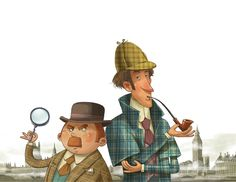 """Illustrations for """"The Adventures of Sherlock Holmes"""" by Arthur Conan Doyle Character Creation, Character Concept, Character Design, Sketch Inspiration, Character Inspiration, Detective, Mini Albums, Adventures Of Sherlock Holmes, Dr Watson"""