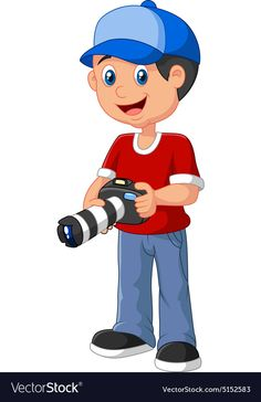 Boy Holding a Camera Royalty Free Vector Image Community Helpers Preschool, Preschool Education, Drawing For Kids, Art For Kids, Hollywood Theme Classroom, Kids Cartoon Characters, Planting For Kids, Cartoon Fish, Sewing Art