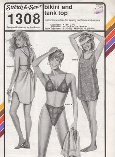 Stretch & Sew 1308 Misses High Cut  BIKINI and Racing Back Tank Top Cover Up womens sewing pattern by mbchills