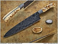 Damascus chef's knife (gyuto) made with meteorite by HHH Knives.