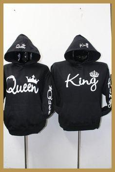 d2c74e9f304b2 Sudaderas Para Parejas Long Sleeve King Queen Crown Printed Pullover Hoodies  Couples Lovers Sweatshirt Men Women