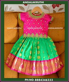 Pattu Pavada designs by Angalakruthi boutique Bangalore Watsapp:+91-8884347333 Kids silk pavada designs Kanchivaram silk pavadai desings by Angalakruthi boutique Bangalore Watsapp:+91-8884347333 #pattupavadadesigns #anagalakruthiboutique Baby Lehenga, Kids Lehenga, Bridal Lehenga, Cotton Frocks For Kids, Frocks For Girls, Kids Frocks Design, Baby Frocks Designs, Mommy Daughter Dresses, Baby Girl Dresses