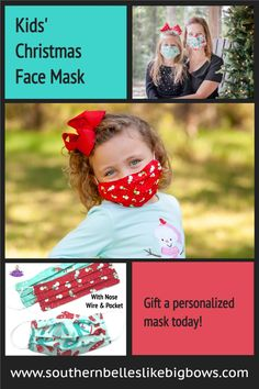 This made in the USA holiday face mask features a pocket for a filter insert and a wire for above the nose contour with comfortable elastic around the ears. Available in a set or individually with personalized embroidery that make it a great gift. Choose from three fun Christmas themes - ugly sweater, snowmen, or snow globe fun.  Also available in adult sizes. Christmas Hair Bows, Christmas Themes, Kids Christmas, Nose Contouring, Usa Holidays, Bow Shop, Christmas Accessories, Child Face, Cheer Bows