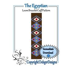 The Egyptian Loom Bracelet Cuff Pattern by LoomTomb on Etsy