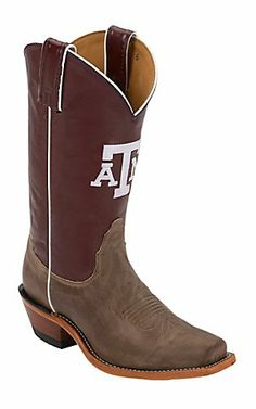 Nocona® Women's Texas A&M University Vintage Brown w/ Logo on Maroon Top Single Welt Square Toe Western Boots | Cavender's