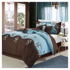 teal and brown bedding set furniture ideas