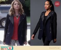 Hanna's tweed and leather coat on Pretty Little Liars. Outfit Details: http://wornontv.net/27037 #PLL #fashion