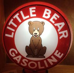 Very Rare Little Bear Gas Globe   Little Bear Oil Company, Wichita, Kansas we believe, circa 1930s. Company and history unknown. Dead mint SINGLE insert for Gill frame. $7500.00 SOLD!!