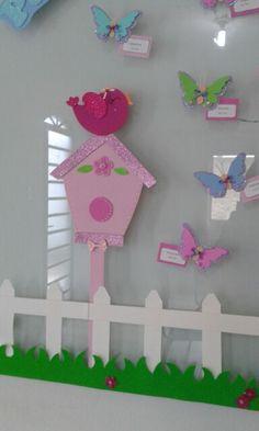 Casa de passarinho mural de aniversário eva e.v.a emborrachado