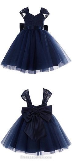 New Princess Birthday Dresses,Sweetheart Lace Communion Dresses,Tulle Tea-length Girl's Dresses, Bow Dark Navy Flower Girl Dresses,Spring & Summer Pageant Dresses