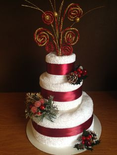 Christmas Bath Towel Cake  Elegant and by CreationsbyAshleyC