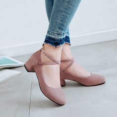 Buy Shoes Galore Block Heel Ankle Strap Pumps | YesStyle Homecoming Shoes, Prom Shoes, Buy Shoes, Low Heel Shoes, Pumps Heels, Professional Shoes, Wedding Shoes Bride, Twisters, Stylish Sandals